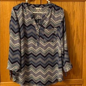 Maurices Navy Blouse 3/4 Sleeve